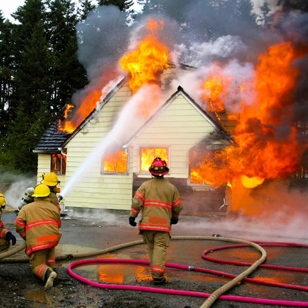 Firefighters Fighting House Fire